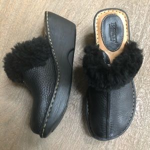 BORN Leather and Faux Fur Wedge Shoe